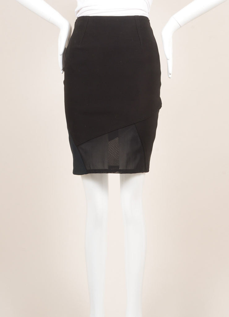 Yigal Azrouel New With Tags Black and Green Mechanical Stretch Paneled Pencil Skirt Frontview