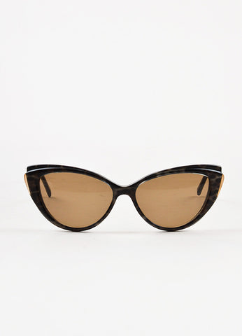Yves Saint Laurent Black and Brown Cheetah Printed GHW Cat Eye Sunglasses Frontview
