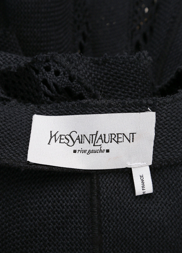 Yves Saint Laurent Black Pique Woven Embroidered Cut Out Crop Jacket Brand