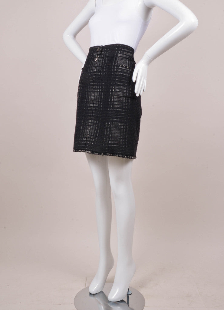 Black and Grey Plaid Wool Blend Zippered Pencil Skirt