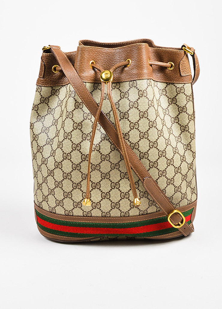 Gucci Accessory Collection Brown and Grey Monogram Canvas Bucket Bag Frontview