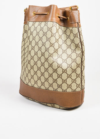 Gucci Accessory Collection Brown and Grey Monogram Canvas Bucket Bag Sideview