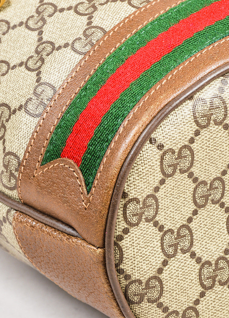 Gucci Accessory Collection Brown and Grey Monogram Canvas Bucket Bag Detail
