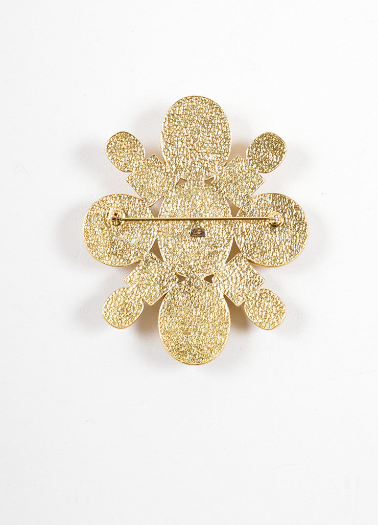 Chanel Gold Toned and Cream Geometric Stone Embellished Oversized Brooch Backview