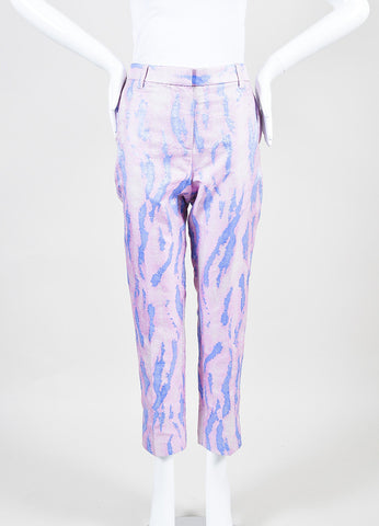 3.1 Phillip Lim Pink and Blue Silk Brocade Printed Cropped Trousers Frontview
