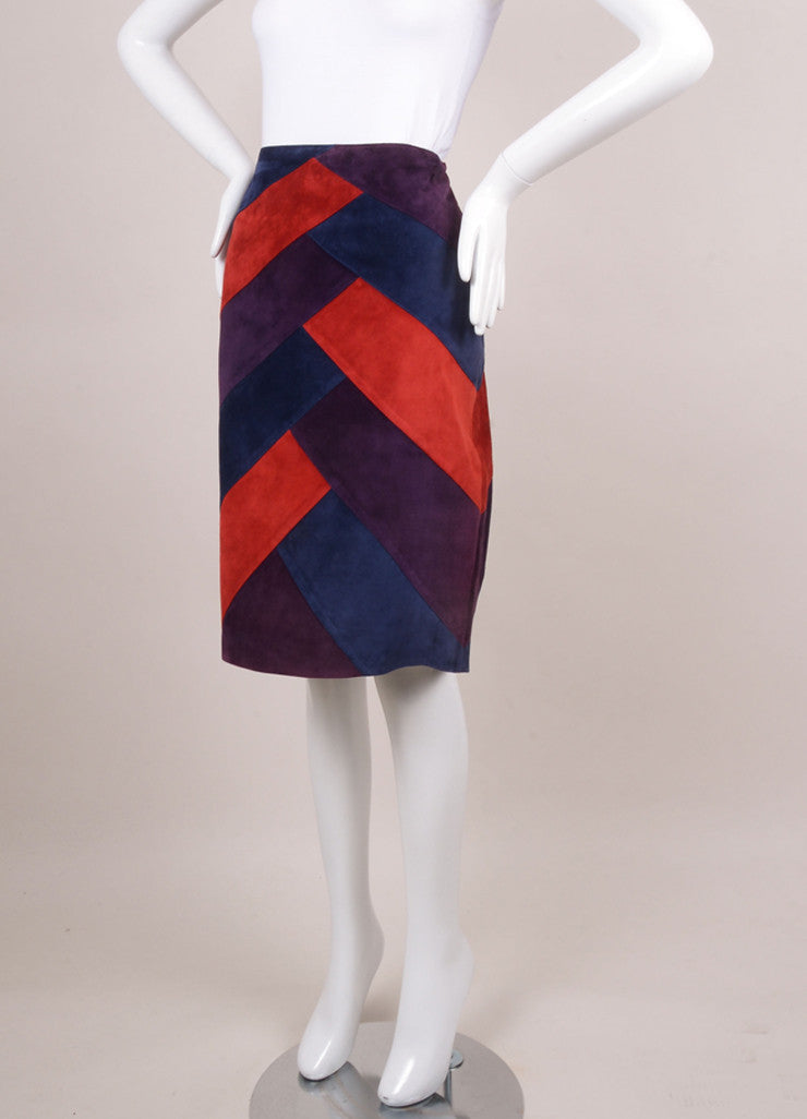 Purple, Red, and Blue Suede Colorblock Pencil Skirt