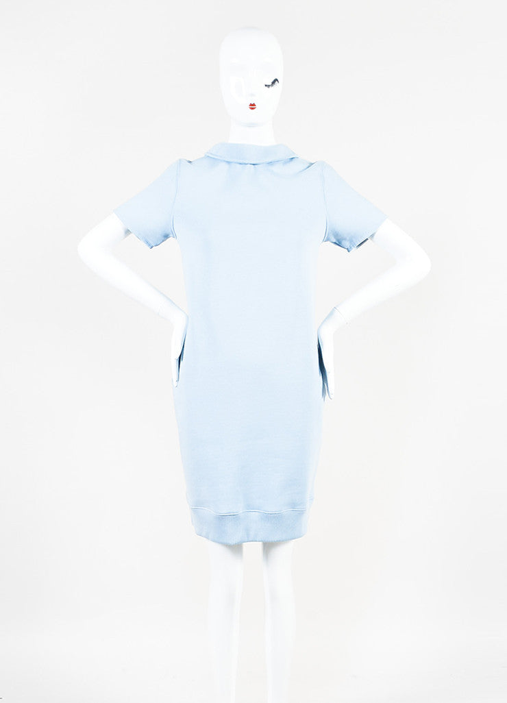 "Acne Studios Light Blue Cotton Knit ""Lois"" Short Sleeve Sweatshirt Dress Frontview"