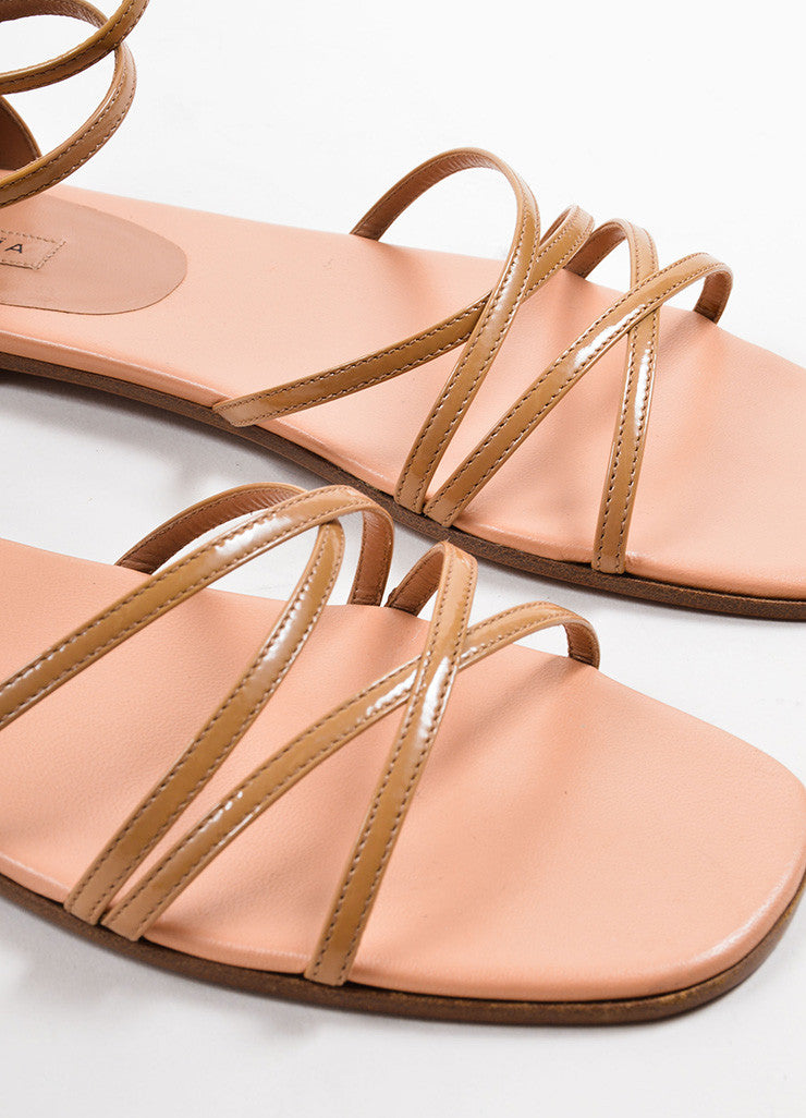 Alaia Tan Patent Leather Square Toe Strappy Flat Sandals Detail