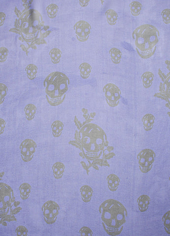 Royal Blue and Black Alexander McQueen Silk Skull Scarf Detail 1
