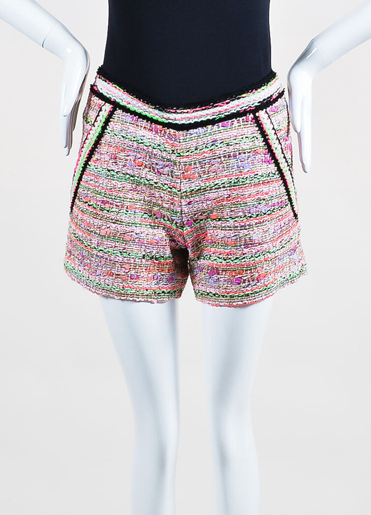 Pink and Multicolor Neon Andrew Gn Tweed Shorts  Frontview
