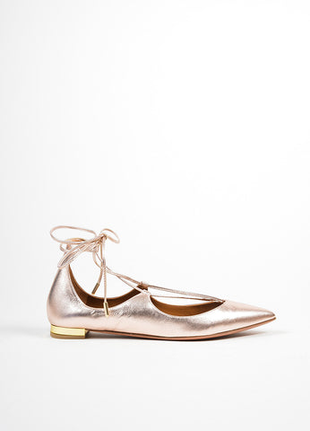 "Rose Gold Leather Aquazzura ""Christy"" Pointed Toe Lace Up Flats Sideview"