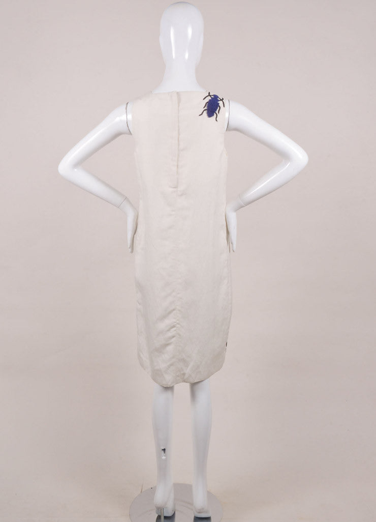 "Azede Jean-Pierre New With Tags Beige and Blue Silk and Linen Beetles ""Swarm"" Dress Backview"