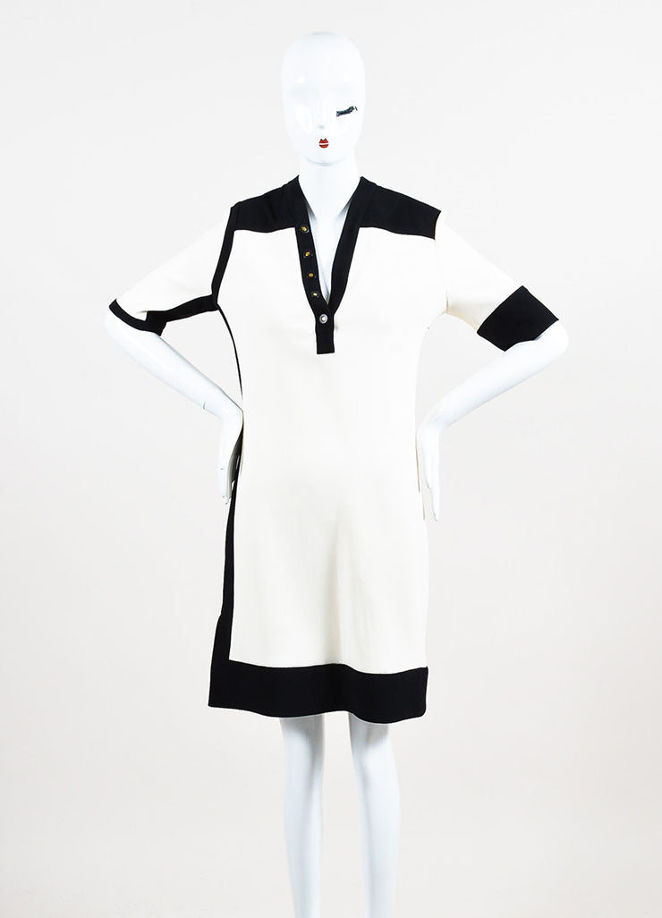 Balenciaga Cream and Black Crepe Color Block Short Sleeve Dress Frontview