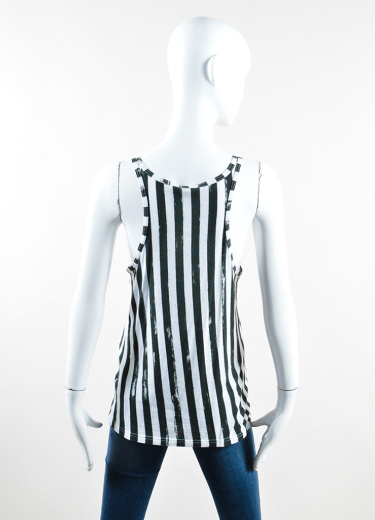 Balmain Green and White Vertical Striped Scoop Neck Tank Top Backview