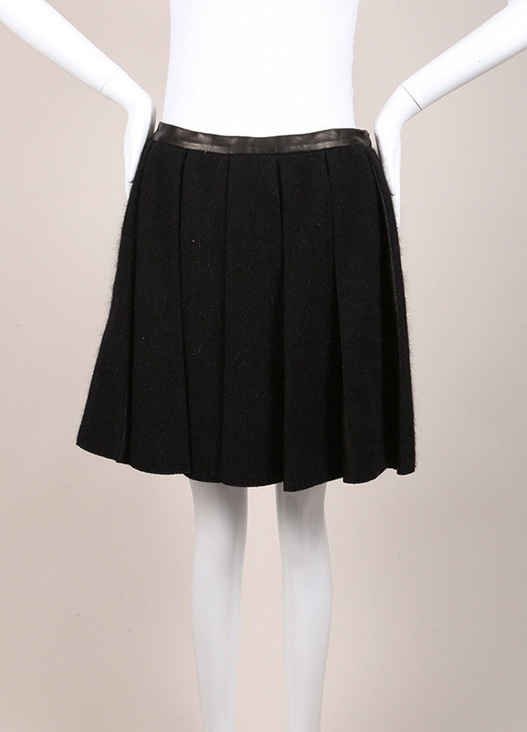 Balmain New With Tags Black Wool Angora and Lamb Leather Pleated Flared Skirt Frontview