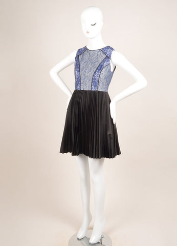 Bensoni Blue and Black Lace Pleated Skirt Sleeveless Dress Sideview
