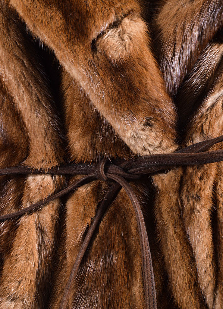 Bisang Brown Fur Double Breasted Hooded Coat Detail