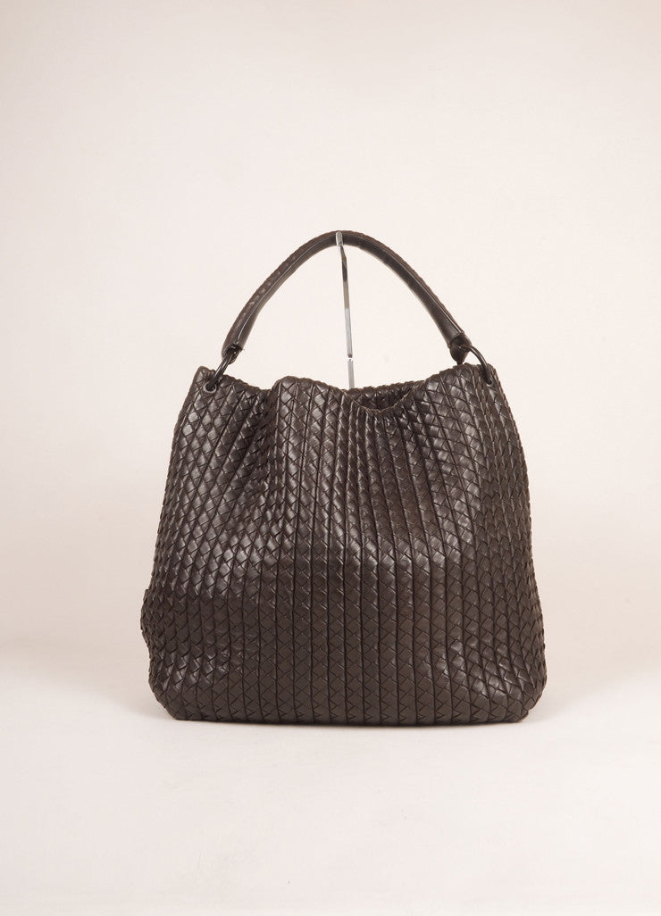 Bottega Veneta Brown Leather Woven Intrecciato Tote Bag Frontview