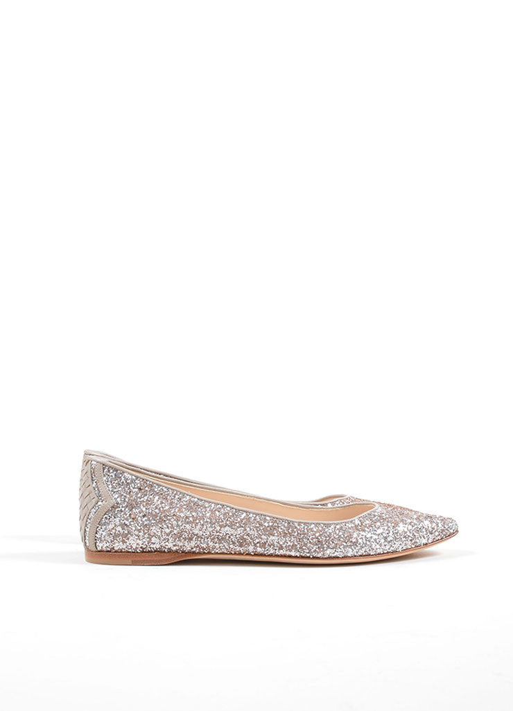 Bottega Veneta Rose Pink Glitter Woven Leather Detail Flats Sideview