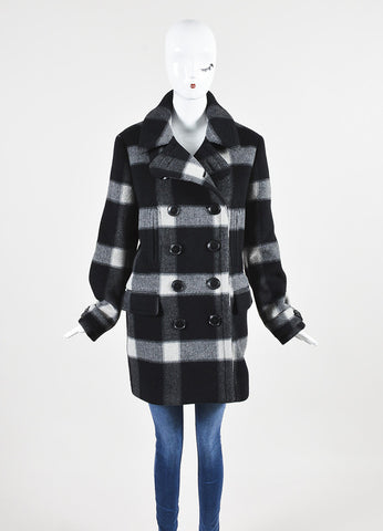 Grey and Black Burberry Brit Wool Plaid Double Breasted Pea Coat Frontview 2