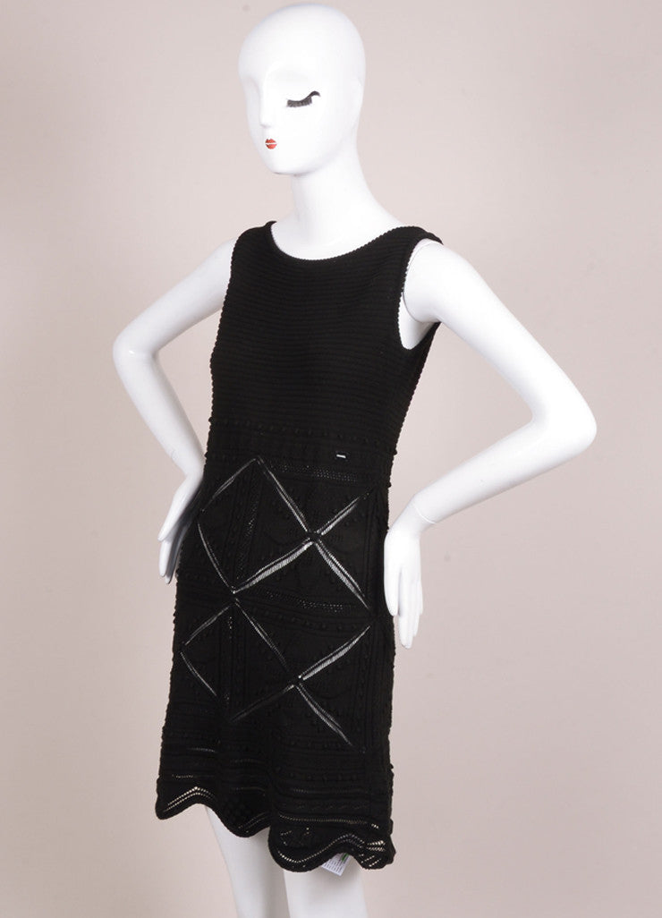Chanel Black Embroidered Crochet Knit Sleeveless Dress Sideview