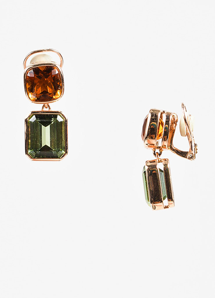 Sidney Garber 18K Rose Gold, Green Amethyst, and Citrine Clip On Earrings Sideview