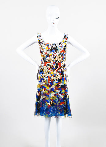 Carolina Herrera Multicolor Silk Dancer Print Sequin Sleeveless Dress Frontview