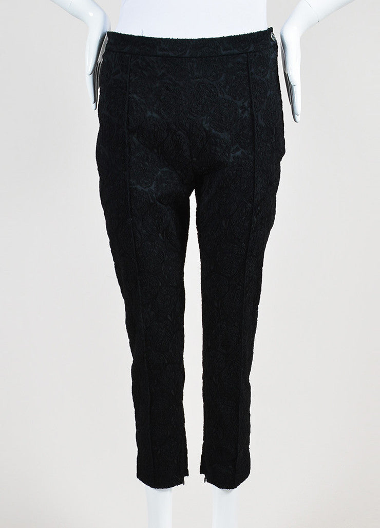 Black Celine Silk Embroidered Texture Cropped Tapered Trousers Frontview