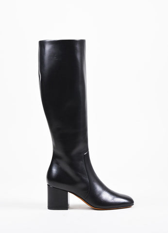 Celine Black Leather Mid Height Block Heel Tall Boots Sideview