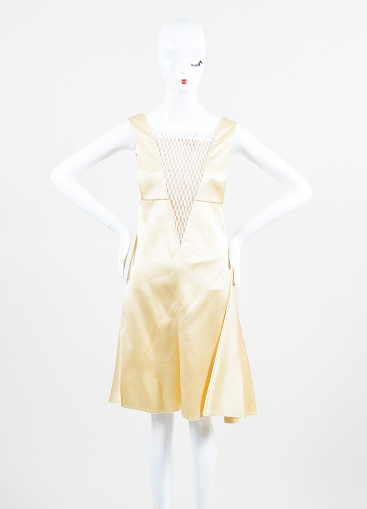 Cream Celine White Sleeveless Eyelet Inset Dress Frontview