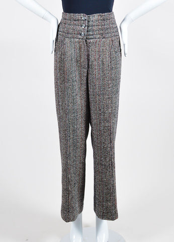 Black, White, and Red Chanel Tweed High Waisted Wide Leg Trousers Frontview