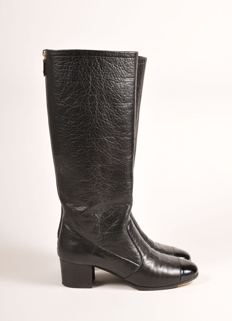 Chanel Black Leather Patent Cap Toe Knee High Boots Sideview