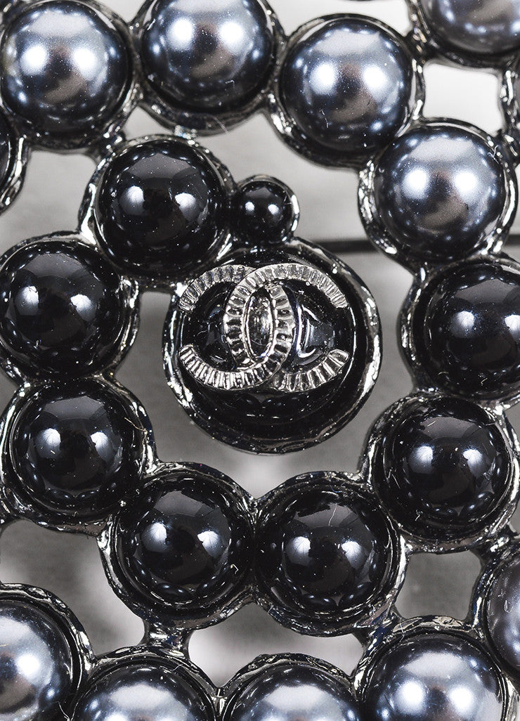 Chanel Grey, Black, and Cream Faux Pearl Embellished 'CC' Logo Swirl Pin Detail