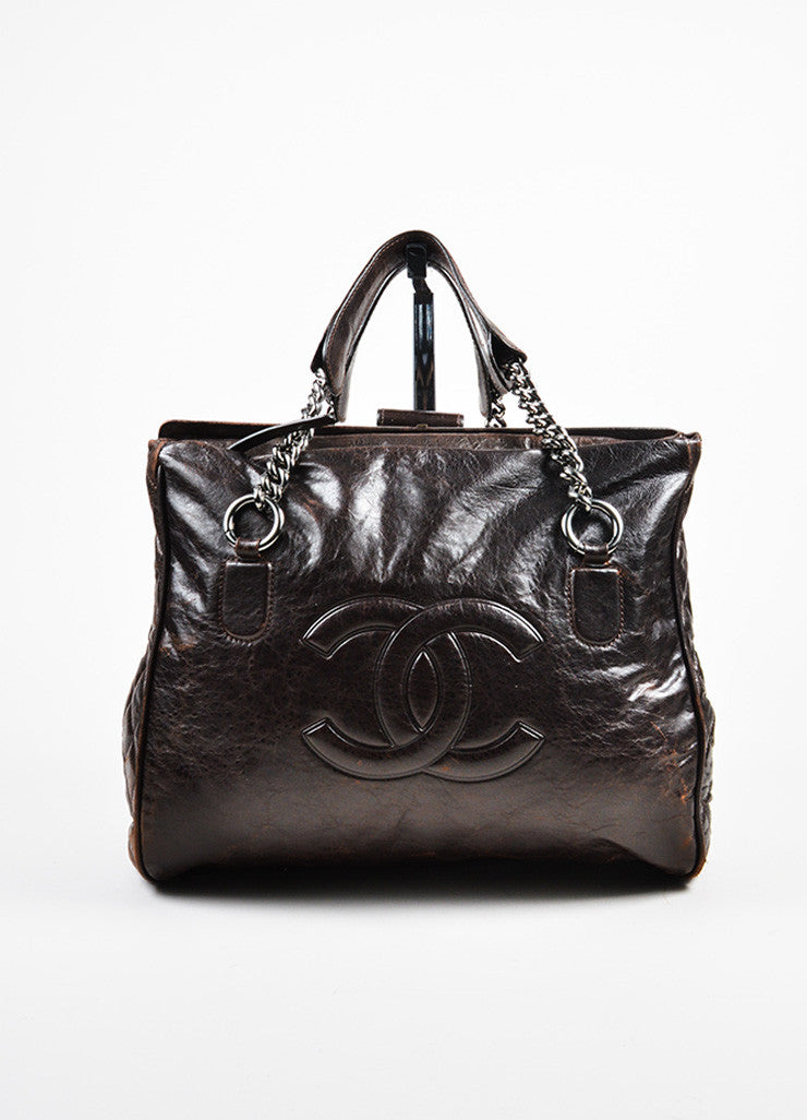 "Dark Brown Chanel Leather Quilted ""Perfect Day"" Tote Bag Frontview"