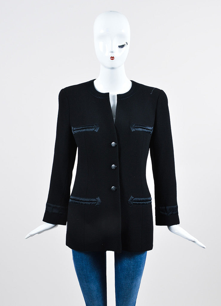 Black Chanel Wool Satin Trim 'CC' Button Jacket Frontview 2