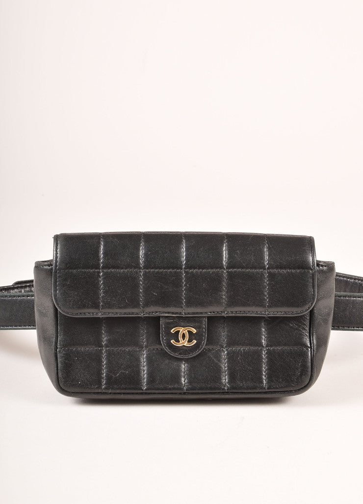 "Chanel Black Lambskin Leather Square Quilted ""CC"" Logo Waist Bag Belt Detail"
