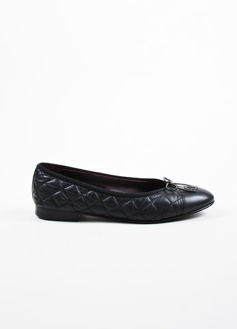 Chanel Black Quilted Leather 'CC' Logo Bow Detail Ballerina Flats Sideview
