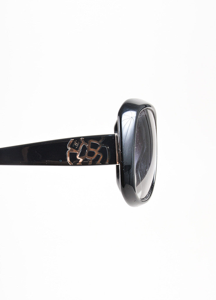 "Black and Silver Toned Chanel Plastic ""5248"" Flower 'CC' Oversized Sunglasses Detail"