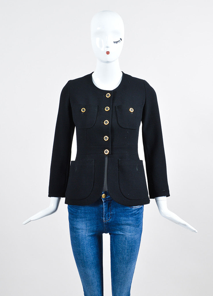 Chanel Black and Gold Toned Button Box Weave Jacket Frontview 2