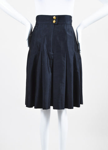 Chanel Navy Blue Silk Soft Pleated Culotte Shorts Frontview