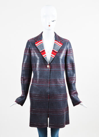 Chanel Charcoal Grey, Red, and White Coated Cashmere Striped Jacket Frontview 2