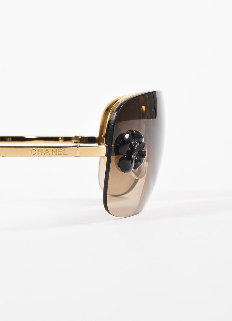 "Chanel Gold Toned and Brown Frameless Camellia Floral Accent ""4135"" Sunglasses Detail"