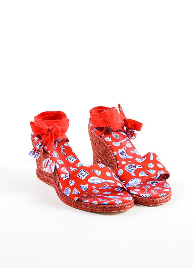 "Chanel  Red Blue Canvas ""CC"" Printed Espadrille Wrap Wedges Frontview"