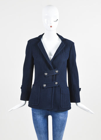 å´?ÌÜChanel Navy Blue Cotton Ribbed Button Tab Blazer Jacket Frontview 2