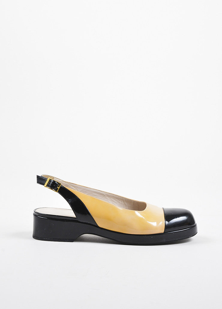 Chanel Nude and Black Patent Leather Cap Toe Slingback Platform Flats Sideview