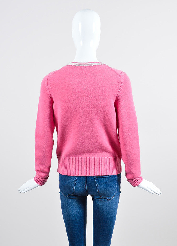 Pink and White Chanel Cashmere Silver Toned 'CC' Button Up Rib Knit Cardigan Backview