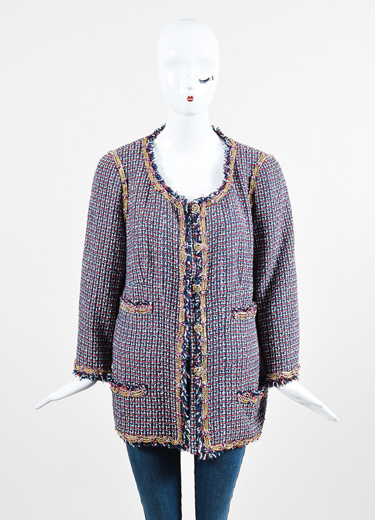 Chanel Red, Blue, and Green Gold Chain Trim 'CC' Button Tweed Fringe Trim Jacket Frontview 2