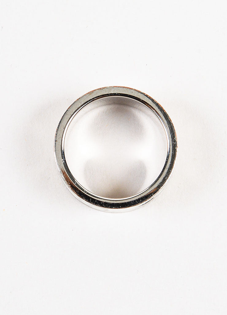 Chanel White and Silver Toned Metal Enamel 'CC' Logo Barrel Ring Topview