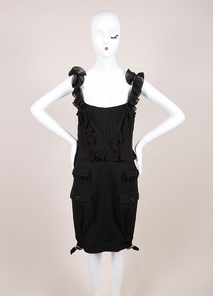 Christian Dior Black Ruffle Detail Spaghetti Strap Pocket Wool Dress Frontview