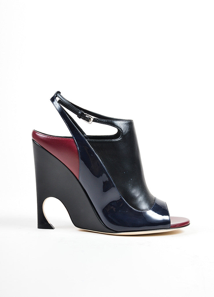 "Black, Maroon, and Navy Leather Christian Dior ""Audace"" Wedges Sideview"